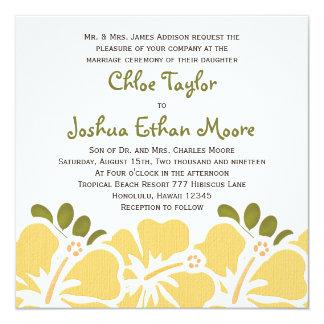 黄色いハイビスカスの結婚式招待状 カード