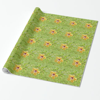 黄色いハイビスカスの花の包装紙 ラッピングペーパー