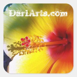 黄色いハイビスカスの花の名前をカスタムするのステッカー スクエアシール