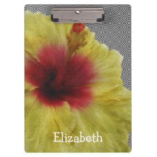 黄色いハイビスカスの花の絵画を個人化して下さい クリップボード