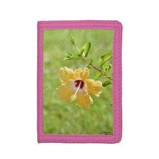 黄色いハイビスカスの花の財布
