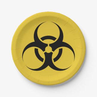 """黄色いハロウィンの生物学的災害[有害物質]の記号及び黒7"""" ペーパープレート"""
