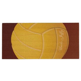 黄色いバレーボールのモノグラムの名前 ウッドUSBフラッシュドライブ