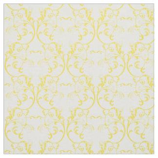 黄色いパリのダマスク織パターン生地 ファブリック