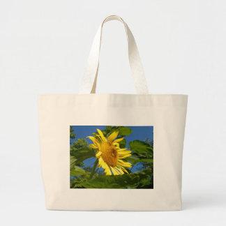 黄色いヒマワリのトートバック ラージトートバッグ