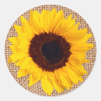 黄色いヒマワリのバーラップのステッカーの封筒用シール ラウンドシール