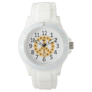 黄色いヒマワリのピースサイン数腕時計 腕時計
