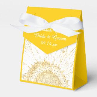黄色いヒマワリの写実的な結婚式 フェイバーボックス