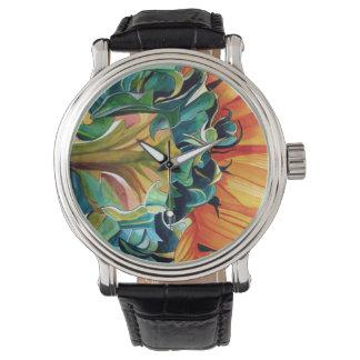 黄色いヒマワリの水彩画の元の芸術の絵画 腕時計