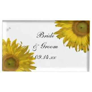 黄色いヒマワリの結婚 テーブルカードホルダー