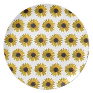 黄色いヒマワリパターン プレート