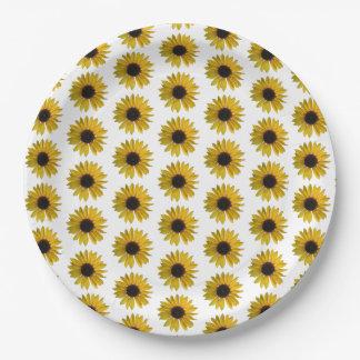 黄色いヒマワリパターン ペーパープレート