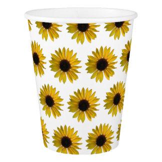 黄色いヒマワリパターン 紙コップ