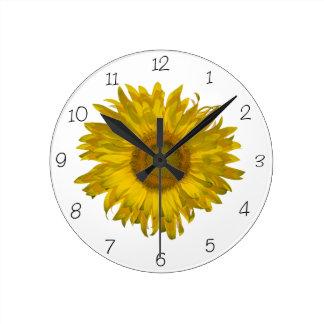 黄色いヒマワリ ラウンド壁時計