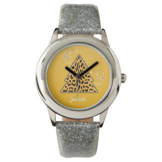 黄色いヒョウのチータのクリスマスツリー 腕時計