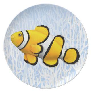黄色いピエロのAnenomeの魚プレート プレート