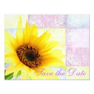 黄色いピンクの国の花のヒマワリの紫色の花嫁 カード