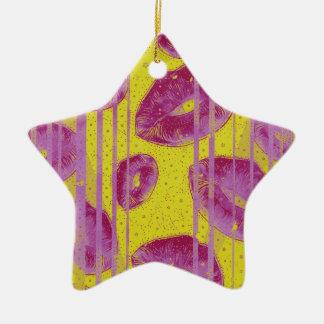黄色いピンクの抽象芸術のキス セラミックオーナメント