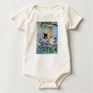 黄色いフィンチの幼児オーガニックなクリーパー ベビーボディスーツ