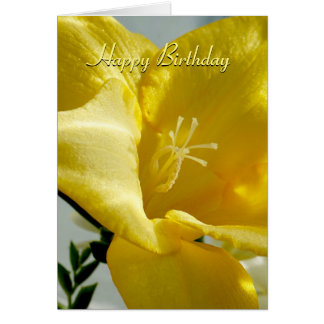 黄色いフリージアのハッピーバースデーカード カード