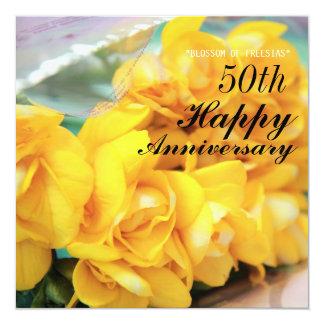 黄色いフリージア第50の結婚記念日 13.3 スクエアインビテーションカード