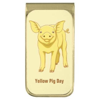 黄色いブタ日の7月17日のかわいいコブタ ゴールド マネークリップ