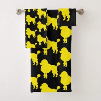 黄色いプードル犬のシルエット バスタオルセット