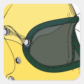 黄色いヘルメット 正方形シール