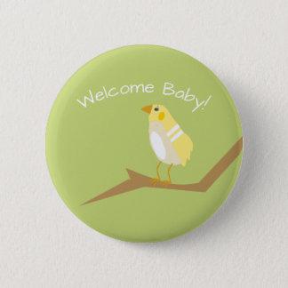 黄色いベビーシャワーのモダンな自然の鳥の好意Pin 5.7cm 丸型バッジ