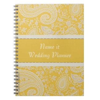黄色いペイズリーのインドのダマスク織のウェディングプランナー ノートブック