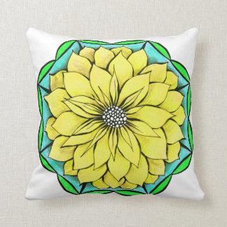 黄色いポインセチアの正方形の枕 クッション