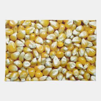 黄色いポップコーンの穀粒パターン キッチンタオル