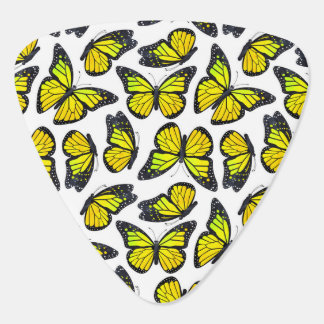 黄色いマダラチョウパターン ギターピック