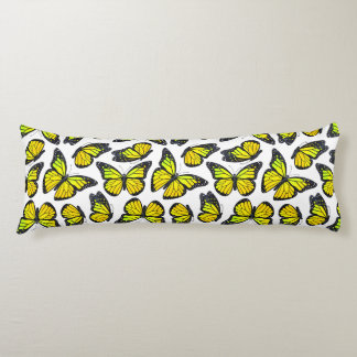 黄色いマダラチョウパターン ボディピロー
