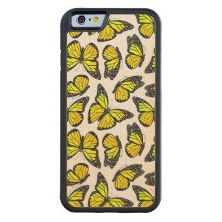 黄色いマダラチョウパターン CarvedメープルiPhone 6バンパーケース