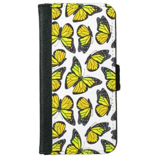 黄色いマダラチョウパターン iPhone 6/6S ウォレットケース