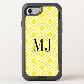黄色いモノグラムのダイヤモンドの幾何学的なパターン オッターボックスディフェンダーiPhone 8/7 ケース