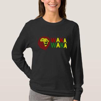 黄色いライオンの赤い鬣のWaka Wakaのワイシャツ Tシャツ