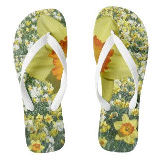 黄色いラッパスイセンのビーチサンダル ビーチサンダル