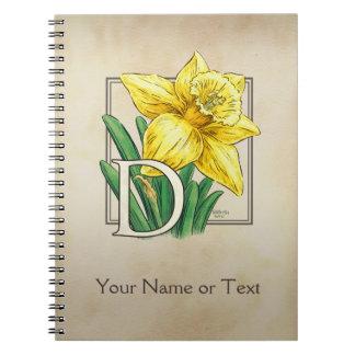 黄色いラッパスイセンの名前入りなモノグラム ノートブック