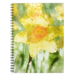 黄色いラッパスイセンの水彩画の分野 ノートブック