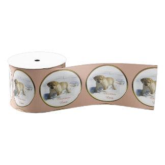 黄色いラブラドル・レトリーバー犬のクリスマス グログランリボン