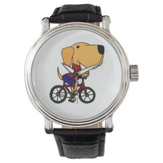黄色いラブラドル・レトリーバー犬の乗馬の自転車の腕時計 腕時計