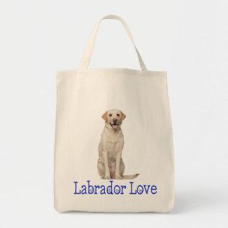 黄色いラブラドル・レトリーバー犬の小犬愛 トートバッグ