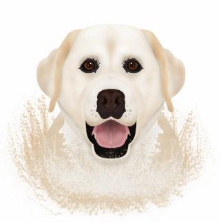 黄色いラブラドル・レトリーバー犬の漫画 写真彫刻(台付き)