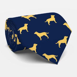 黄色いラブラドル・レトリーバー犬はパターンのシルエットを描きます カスタムネクタイ
