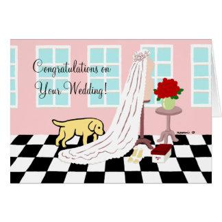 黄色いラブラドールのお祝いの結婚 カード