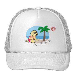 黄色いラブラドールの女の子の夏期休暇の帽子 トラッカー帽子