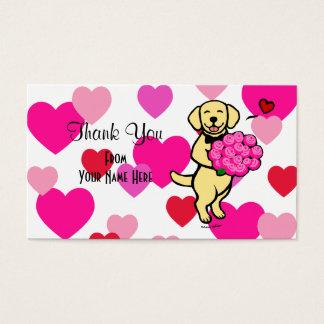 黄色いラブラドールの漫画のバラは感謝していしています 名刺