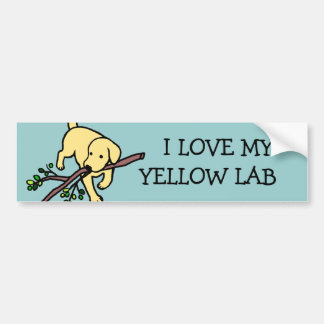 黄色いラブラドールの砂は漫画に文字を入れます バンパーステッカー